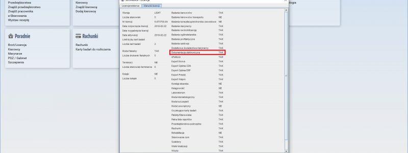 Jak sprawdzić czy licencja SoftMedica Medycyna Pracy posiada aktywny moduł dokumentacji elektronicznej?